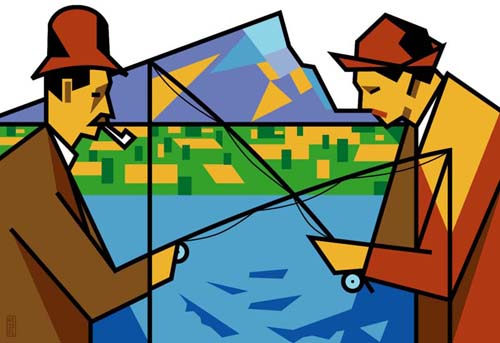 new york times illustration fishing by bob kessel