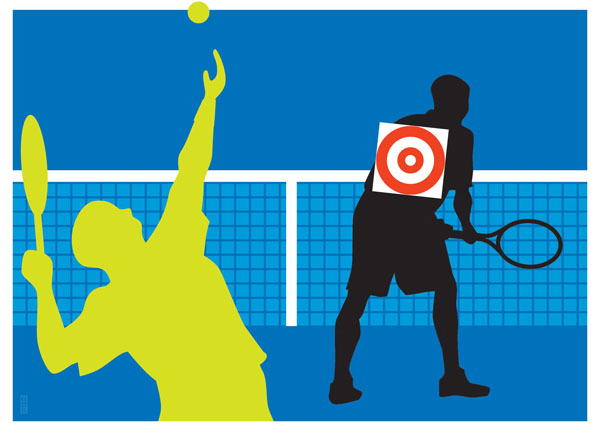 new york times u.s. open tennis illustration doubles trouble by bob kessel
