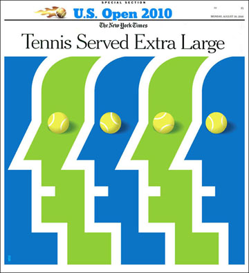 new york times u.s. open tennis illustration by bob kessel