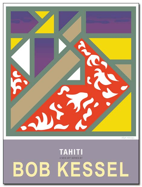 tahiti poster (red dress) by bobkessel