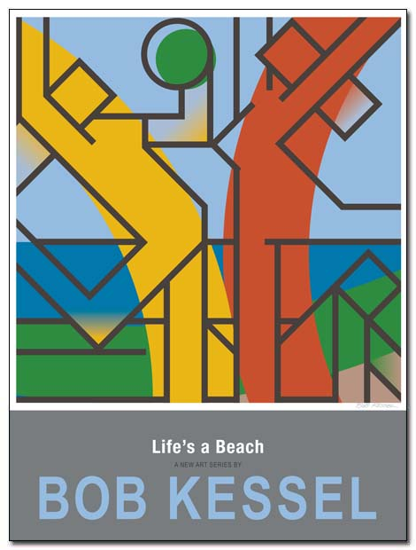 life's a beach poster beachball by bobkessel
