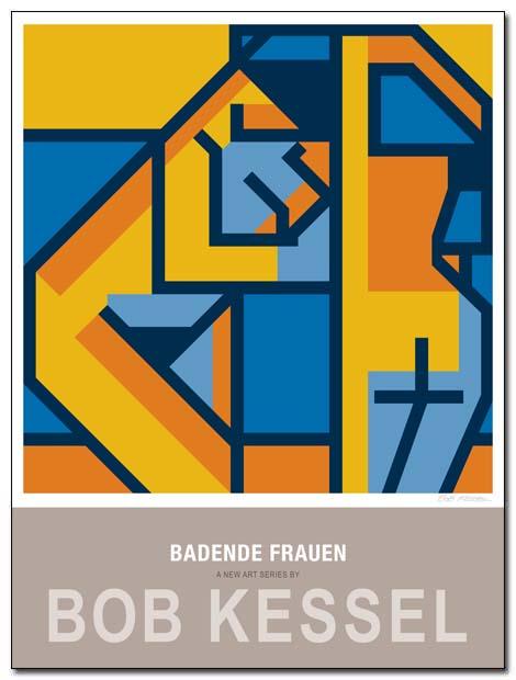 Badende Frauen poster am meer by bobkessel