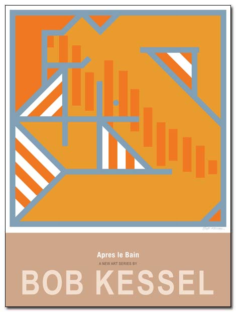 APRES LE BAIN POSTER (Striped towel) by bobkessel