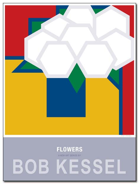 flowers poster blue vase by bobkessel