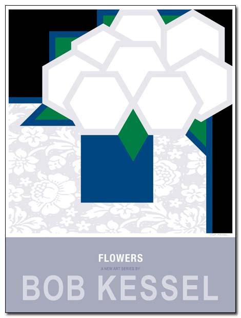 flowers poster blue vase by bobkessel