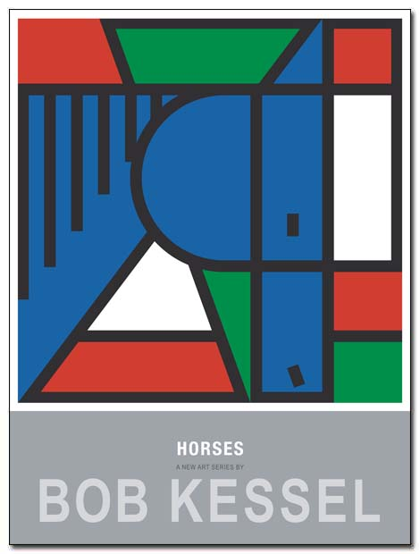 horses poster 1 blue by bobkessel