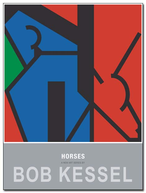 horses poster 2 blue red by bobkessel