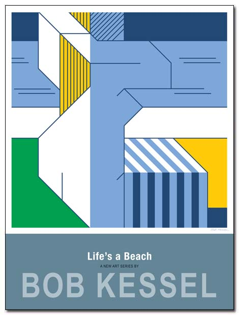 life's a beach poster striped towel by bobkessel