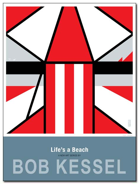 life's a beach poster umbrella chair by bobkessel