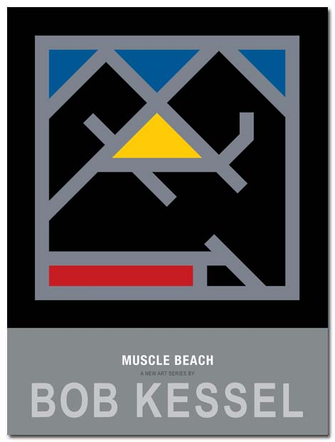 muscle beach poster yellow triangle by bobkessel