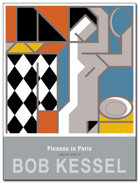 picasso in paris poster harlequin and girl by bobkessel