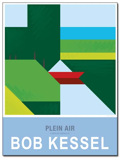 plein air poster red canoe by bobkessel