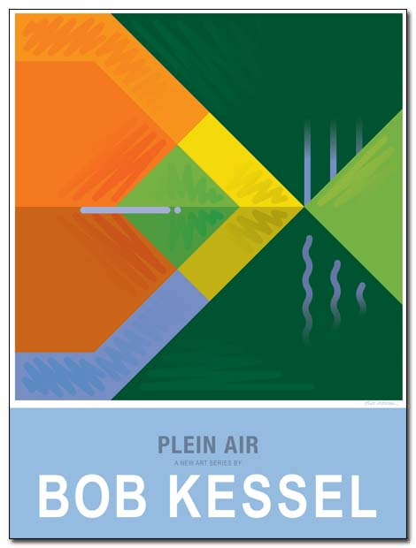 plein air poster tree pond by bobkessel