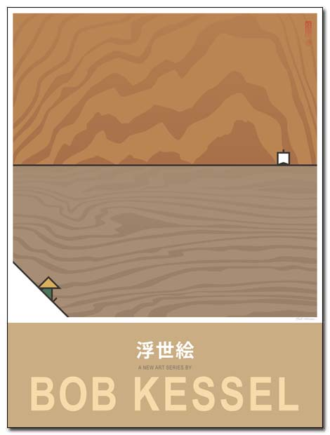 ukiyoe poster wood water by bobkessel