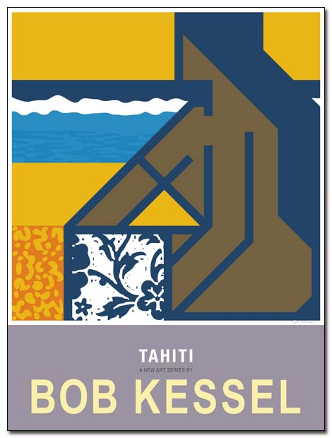 tahiti poster beach girl by bobkessel